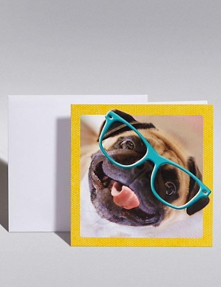 Pug Wearing Glasses Blank Card