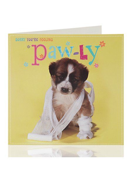 Get Well Cute Dog Greetings Card