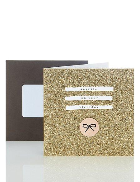 Gold Glitter Birthday Card