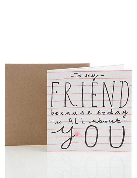 Classic Striped Glitter Friendship Birthday Card