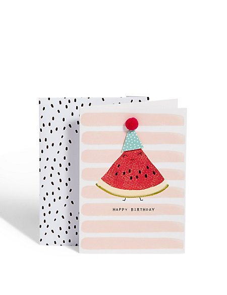Water Melon Party Hat Birthday Card