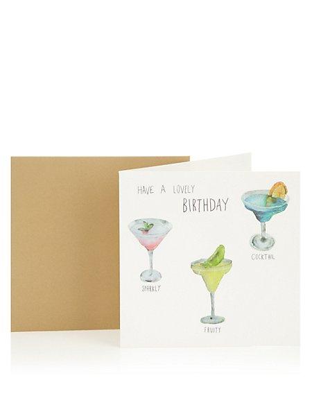 Three Cocktails Birthday Greetings Card