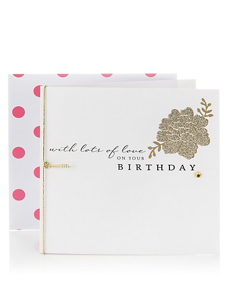 Gold Glitter Floral Birthday Card