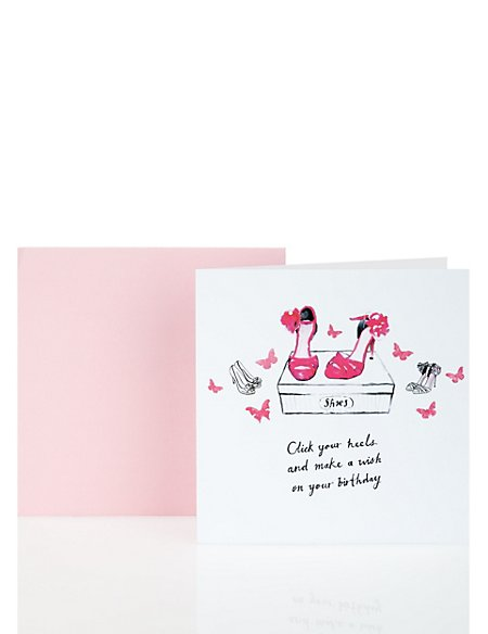 Classic Pink & White Shoes Birthday Card