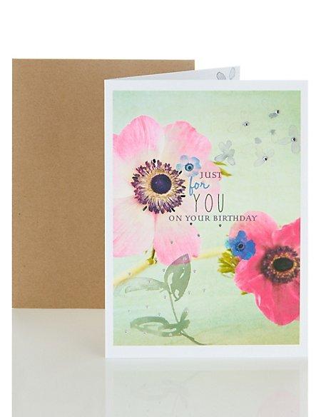 Bright Photo Floral Birthday Card