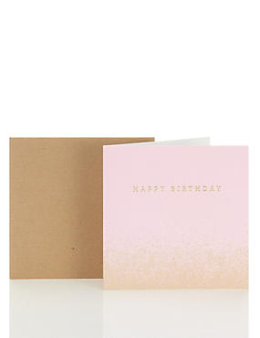 Pastel Pink Gradient Happy Birthday Card
