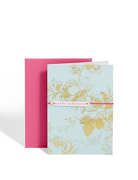 Gold Floral Print Birthday Card