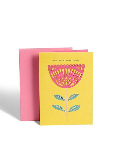 Lasercut Flower Birthday Card