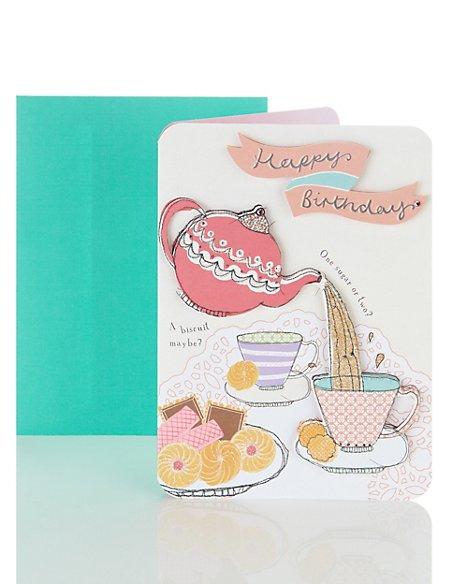 Pouring Tea Birthday Card Ms