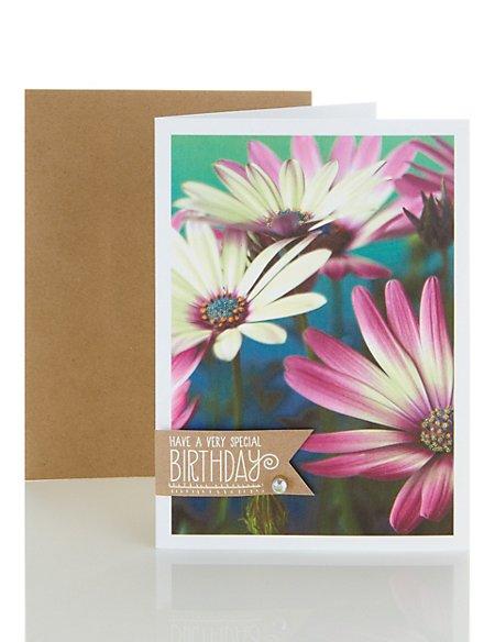 Sparkly Photo Floral Birthday Card
