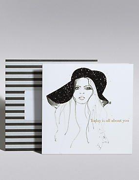 Black Glitter Hat Card