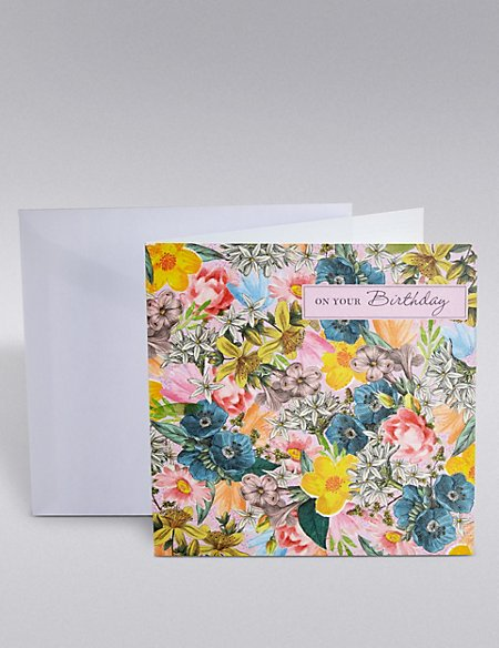 On Your Birthday Floral Card