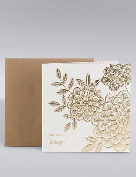 Gold Floral Birthday Card
