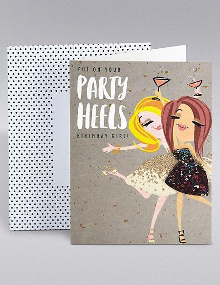 Dotty Daisy Party Heels Birthday Card