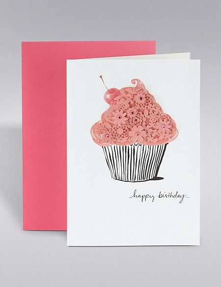 Lasercut Cupcake Birthday Card