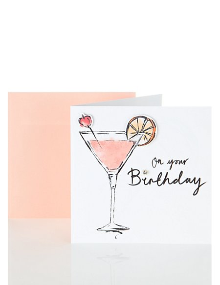 Cherry Cocktail Birthday Card
