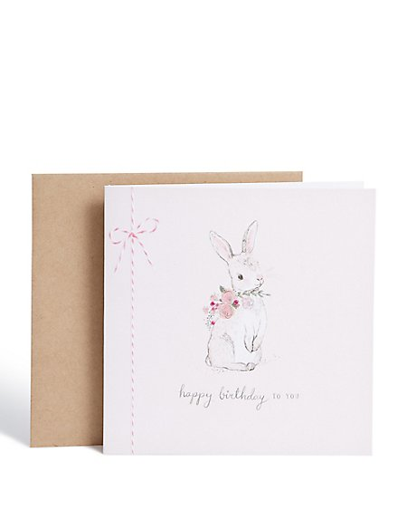 Floral Bunny Birthday Card Ms