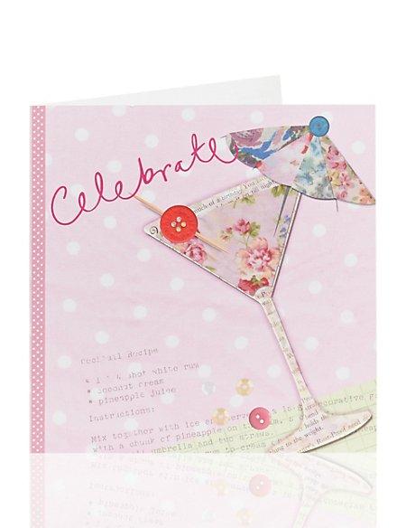 Fabric Cocktail Birthday Card
