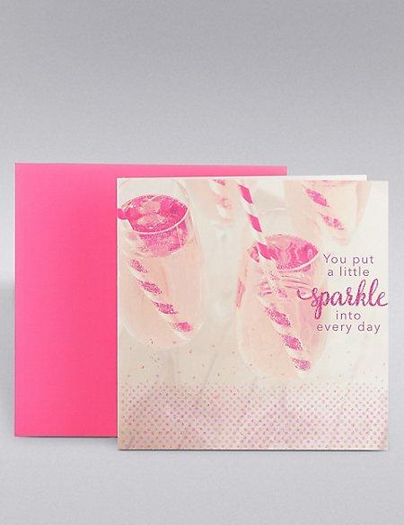Pink Champagne Glitter Birthday Card