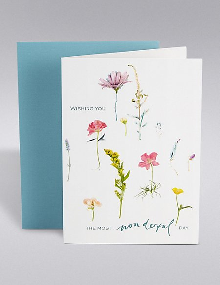 Wonderful Floral Birthday Card