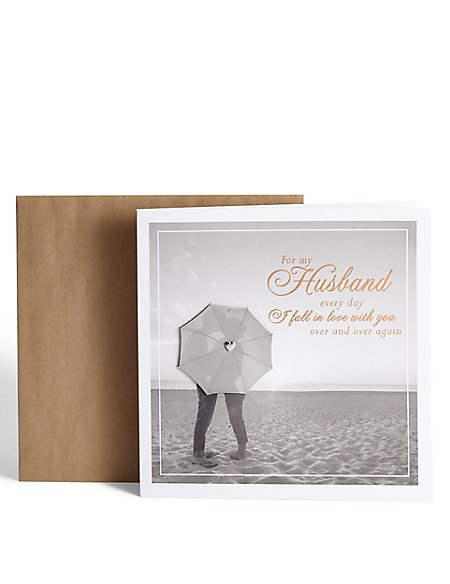 Husband Beach Scene Birthday Card