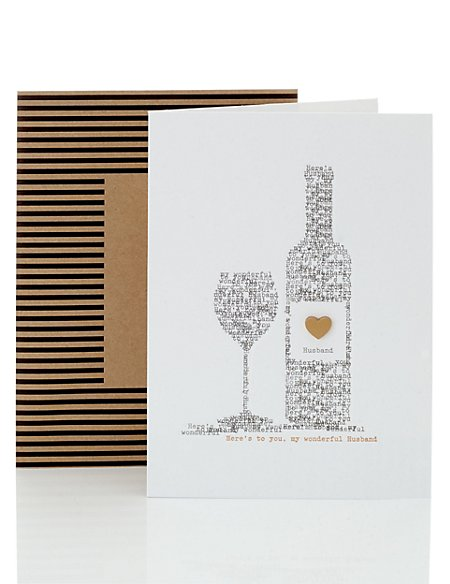 Husband Words Glass Bottle Birthday Card
