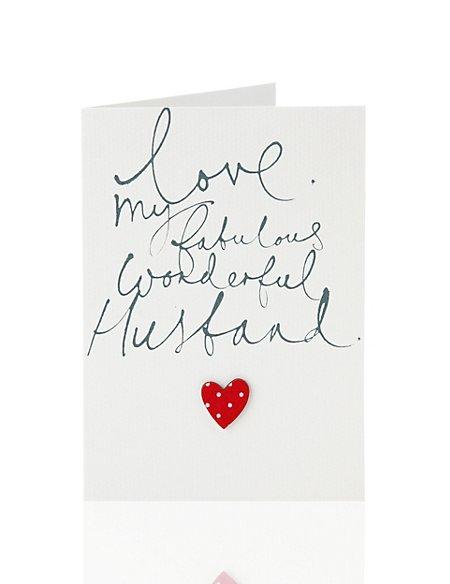 Fabulous Husband Heart Birthday Card