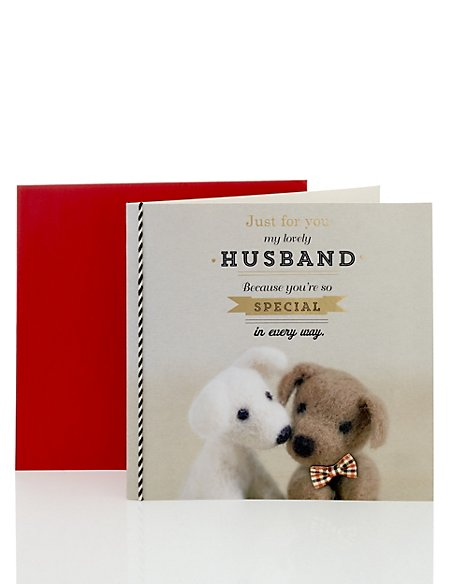 Felt Puppy Love Husband Birthday Card