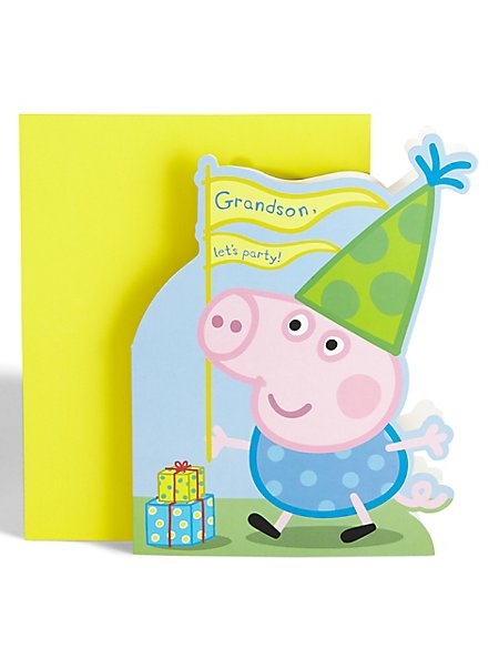 Peppa Pig Grandson Birthday Card