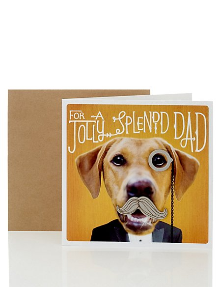 Dog With Monocle Dad Birthday Card Ms