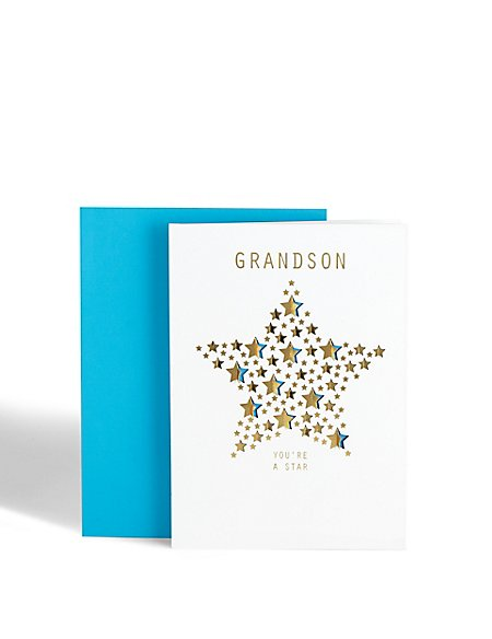 Grandson Stars Birthday Card