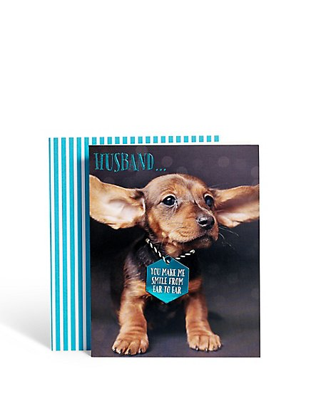 Photographic Dog Husband Birthday Card