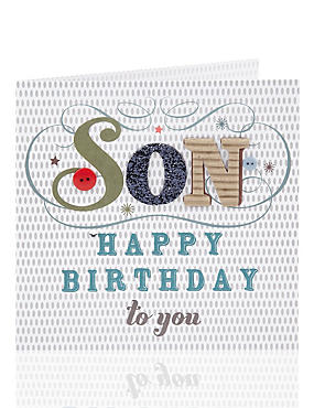 Son Patterned Text Birthday Card