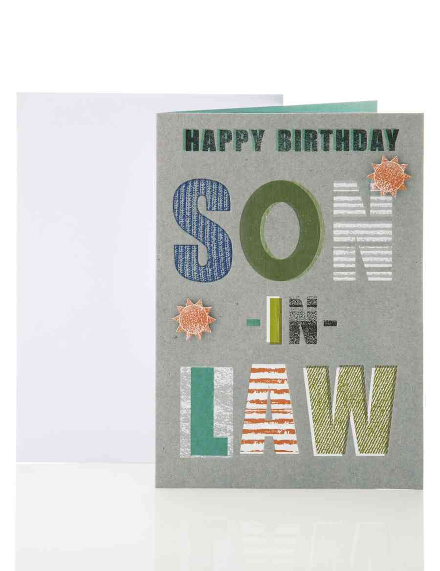Son In Law Grey Text Birthday Card