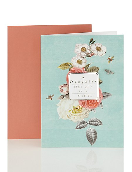 Daughter Open Occasion Card with Floral Design
