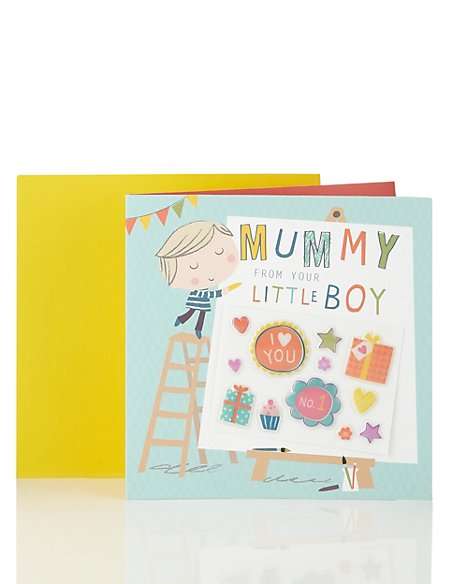 Mummys Little Boy Birthday Card Ms