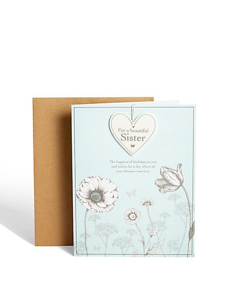 Sister Floral Birthday Card with Keepsake Ceramic Heart