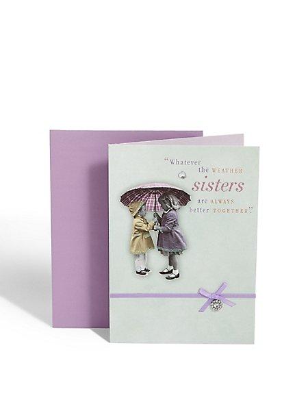Sisters Umbrella Birthday Card