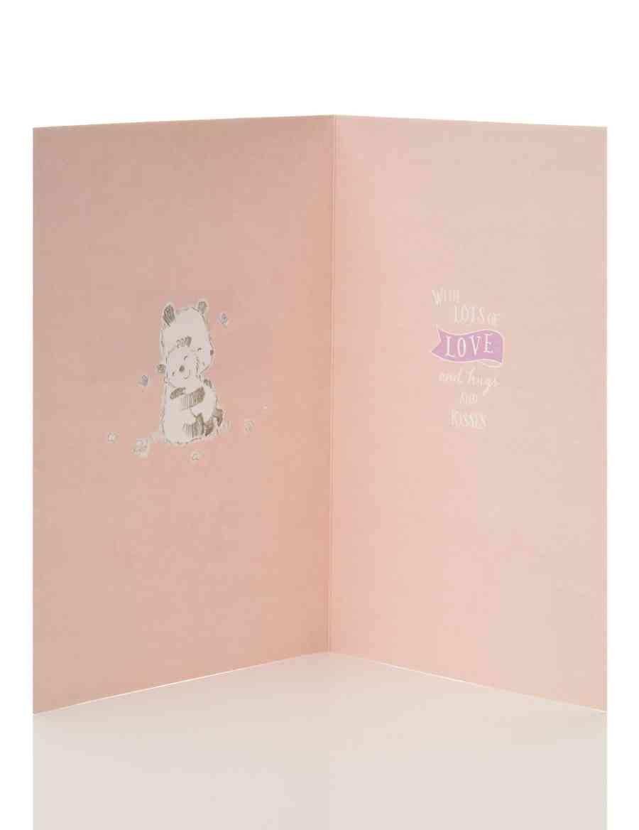 Cute Bear Diamante Great Granddaughter Happy Birthday Card