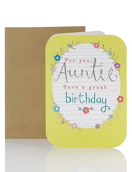 Auntie Modern Floral Birthday Card