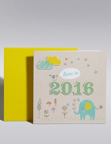 New Baby Boy Born in 2016 Card