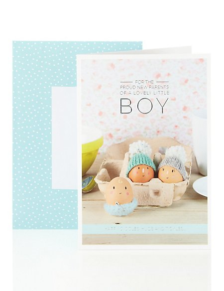New Baby Boy Card Eggs in Egg Box Design