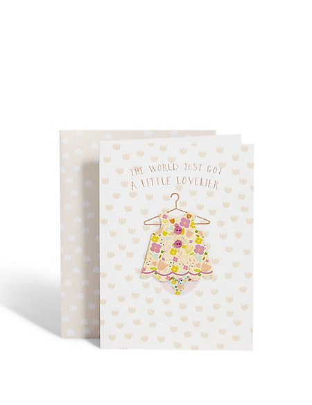 Little Girl Outfit New Baby Card