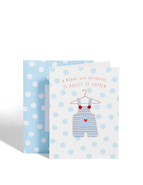 New Baby Boy Outfit Card