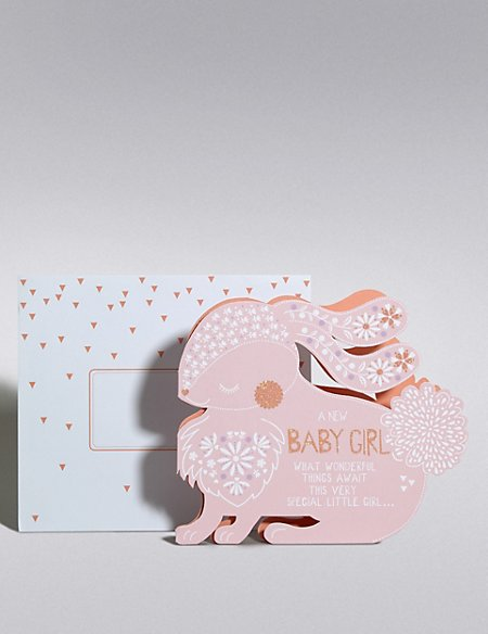 New Baby Girl Rabbit Card