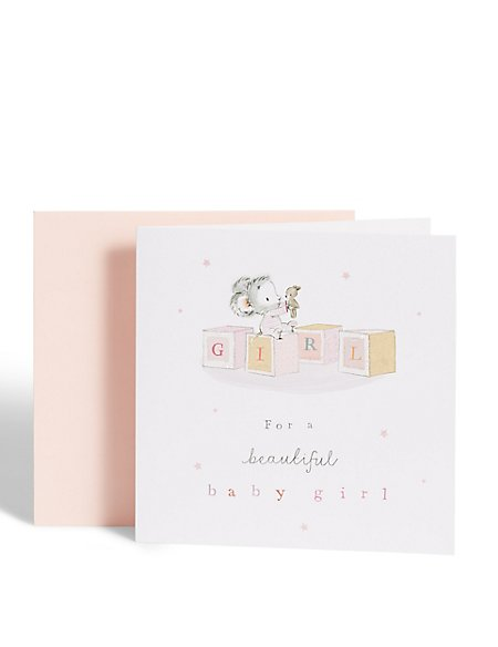 Illustrated Mouse New Baby Girl Card