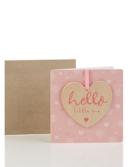 Wooden Heart Birth of Baby Girl Card