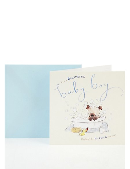 Bear & Bird Baby Boy Greetings Card