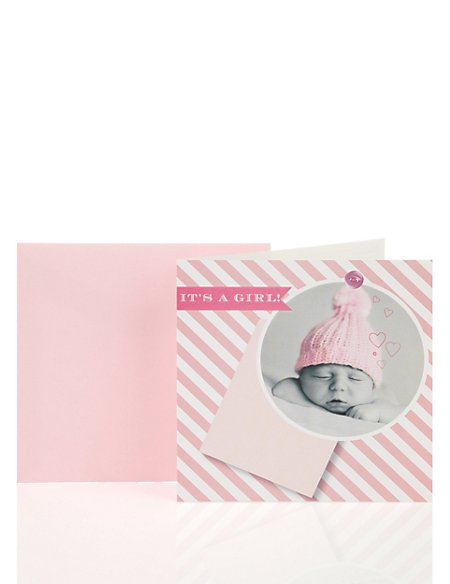 Pink Photo Baby Card