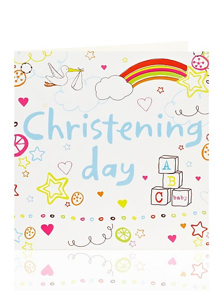 Rainbows & Clouds Christening Card